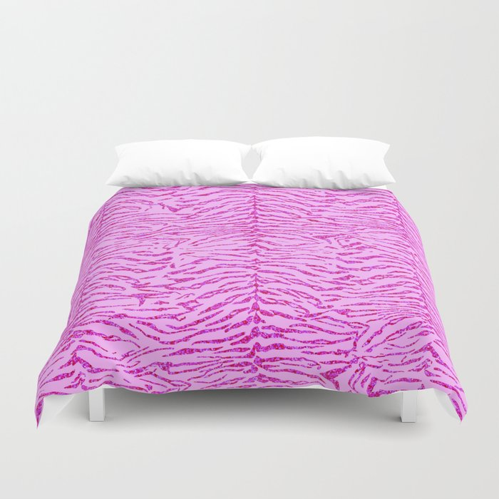Light Pink Glitter Tiger Print Duvet Cover