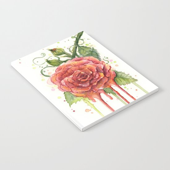 Red Rose Dripping Watercolor Flower Notebook