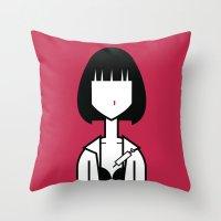 mia wallace Throw Pillows featuring Mia by Ale Giorgini