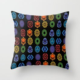 SEVEN CHAKRA SYMBOLS OF HEALING ART #3 Throw Pillow