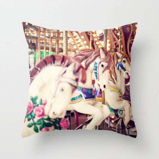 Riding Round Throw Pillow