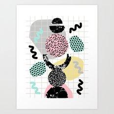 Righteous - abstract minimal throwback retro memphis style art decor wacka design Art Print