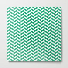 Jade Green Herringbone Pattern Metal Print