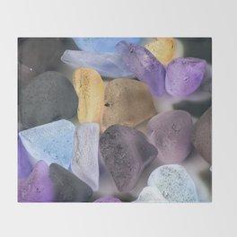 New England beach glass ultraviolet Throw Blanket