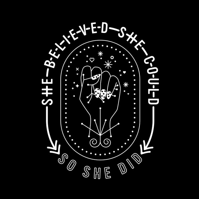She Believed She Could So She Did – White Ink on Black Duvet Cover