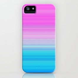 Pink & Aquamarine Blue Stripes iPhone Case