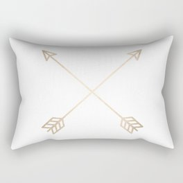 Adventure White Gold Arrows Rectangular Pillow