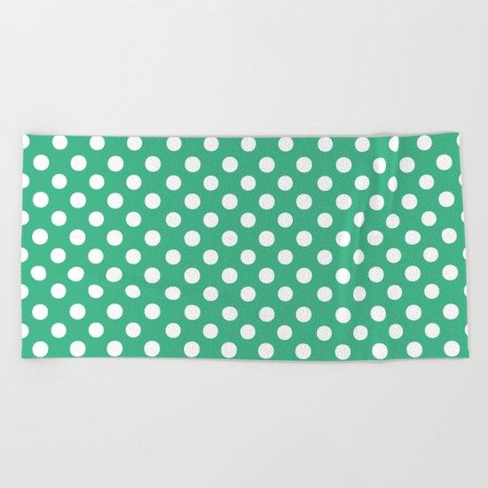 Polka Dots (White/Mint) Beach Towel
