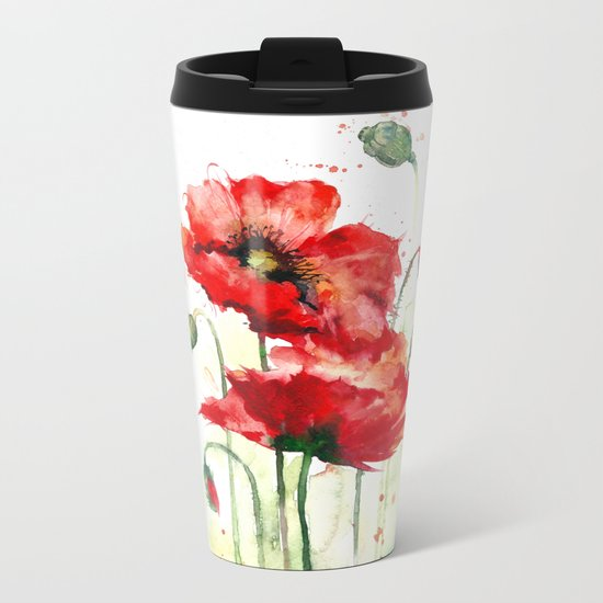 Watercolor flowers of aquarelle poppies Metal Travel Mug