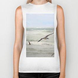 Seagulls flying over rough sea Biker Tank