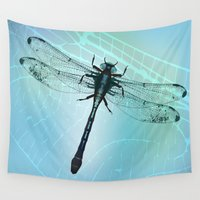 dragonfly Wall Tapestries featuring Dragonfly by Bwiselizzy