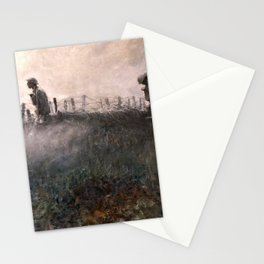 On the Wire War Landscape Painting by Harvey Thomas Dunn Stationery Cards