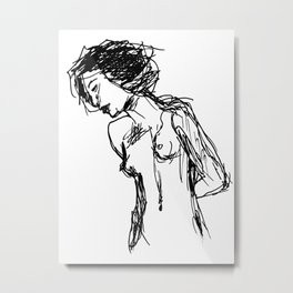 Girl, Scratch Metal Print