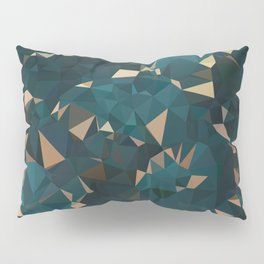 Gold Teal Abstract Low Poly Geometric Triangles Pillow Sham