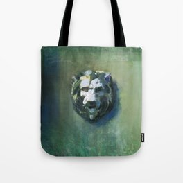 Lion Head Green Marble Tote Bag