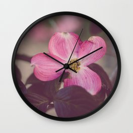 Pink Dogwood and Leaves Wall Clock