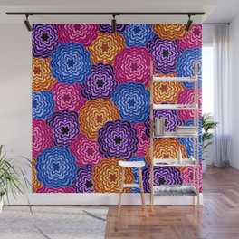 Dahlia Rainbow Multicolored Floral Abstract Pattern Wall Mural