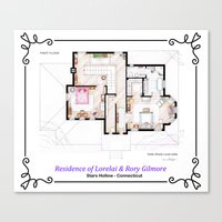 gilmore girls Canvas Prints featuring House of Lorelai & Rory Gilmore - First Floor by nikneuk