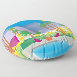 Palm Springs, California - Skyline Illustration by Loose Petals Floor Pillow