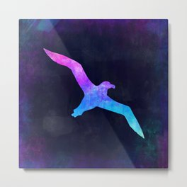 SEAGULL IN SPACE // Animal Graphic Art // Watercolor Canvas Painting // Modern Minimal Cute Metal Print