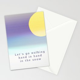 Let's Go Walking Hand in Hand In the Snow Stationery Cards