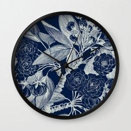 Floral, Roses, Vintage Print, Navy Blue Wall Clock