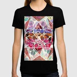 Pink and indigo flower pattern T-shirt