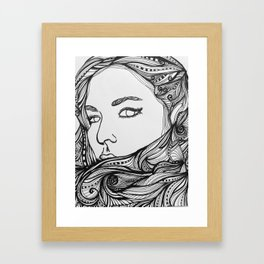 Girl with the Swirling hair 2 Framed Art Print