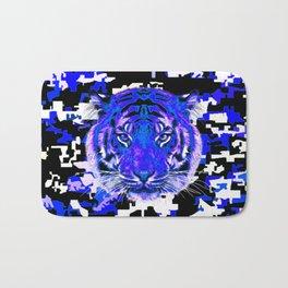 camouflage tiger on blue Bath Mat