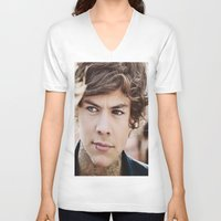 harry styles V-neck T-shirts featuring Harry Styles by CelebrityMerch