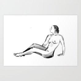 Reclining nude, figure, life drawing, female, woman Art Print