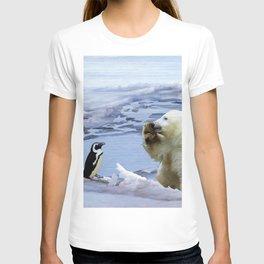 Cute Polar Bear Cub & Penguin T-shirt