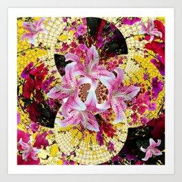 ABSTRACTED FUCHSIA-PINK LILY & HOLLYHOCKS GARDEN Art Print