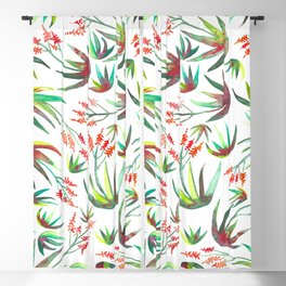Aloe Blooms Succulents Watercolor Pattern Blackout Curtain