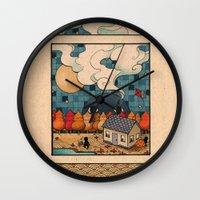 fall Wall Clocks featuring Fall by Felicia Chiao