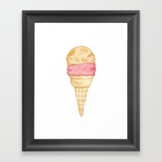 Watercolour Illustrated Ice Cream - Peony Pleasure Framed Art Print
