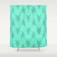 lobster Shower Curtains featuring Green Lobster by The Wallpaper Files
