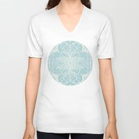 bedding V-neck T-shirts featuring Floral Pattern in Duck Egg Blue & Cream by micklyn