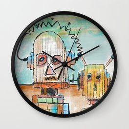 """""""Two Robot Dudes waiting for a Spaceship to go To Thompsonville near the AZ Strip"""" Wall Clock"""