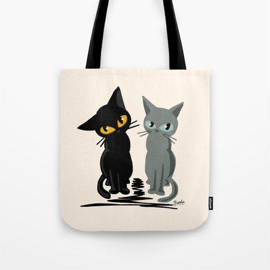 Black and gray Tote Bag
