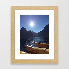 Kayaking in Milford Framed Art Print