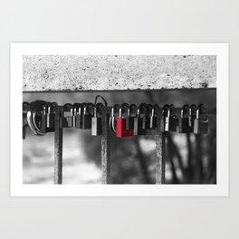 Red lock Art Print
