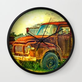 Old Rusty Bedford Truck Wall Clock
