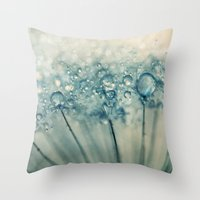 sparkles Throw Pillows featuring Drops & Sparkles by Sharon Johnstone
