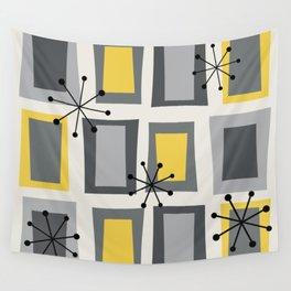 Mid Century Modern Art 'Wonky Doors' Yellow Gray Wall Tapestry
