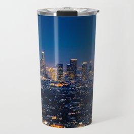 Los Angeles, California, I love LA Downtown Skyline, Golden lights, USA Sunset Blvd, Palms, Cali Map Travel Mug