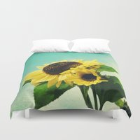 sunflowers Duvet Covers featuring sunflowers by Sylvia Cook Photography