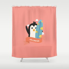 Penguin Surfer From Wellington T Shirt Shower Curtain
