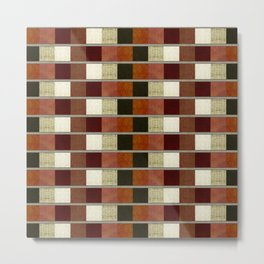 """Retro Abstract Squares Pattern"" Metal Print"