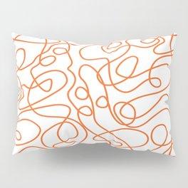 Doodle Line Art   Persimmon / Burnt Orange Lines on White Background Pillow Sham